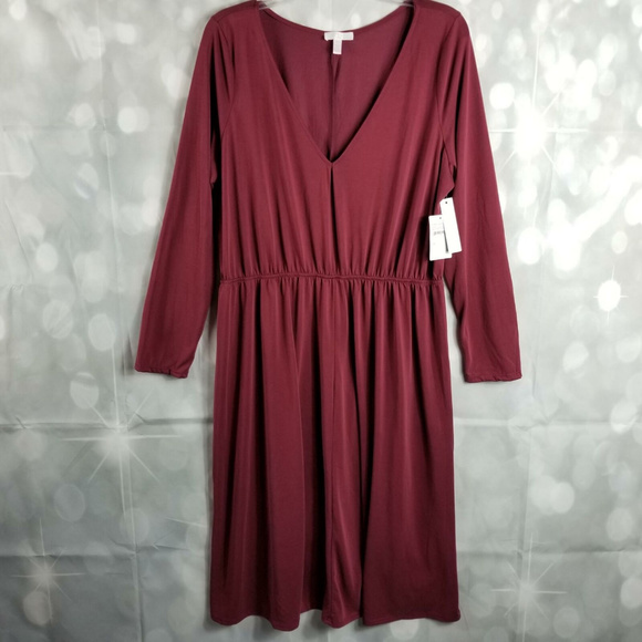 Nordstrom Abound Plus Size Dress Below Knee Wine NWT